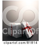 Royalty Free RF Clipart Illustration Of A White 3d Gift Box With A Red Bow And Ribbons The Lid Resting Against The Side