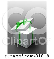Royalty Free RF Clipart Illustration Of A White 3d Gift Box Wrapped With A Green Bow And Ribbons by Mopic #COLLC81818-0155
