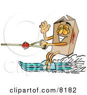 Clipart Picture Of A Cardboard Box Mascot Cartoon Character Waving While Water Skiing