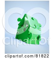 Royalty Free RF Clipart Illustration Of A 3d Green Puzzle Piece House by Mopic