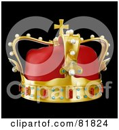 Royalty Free RF Clipart Illustration Of A 3d Golden And Red Crown Adorned With Pearls Rubies And Sapphires On Black by Mopic