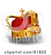 Royalty Free RF Clipart Illustration Of A 3d Golden And Red Crown Adorned With Pearls Rubies And Sapphires On White by Mopic