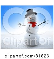 Royalty Free RF Clipart Illustration Of A 3d Grinning Winter Snowman Wearing A Hat And Red Scarf by Mopic