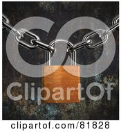 Royalty Free RF Clipart Illustration Of A 3d Rusty Padlock Suspended Between Two Chains On A Rusted Background by Mopic