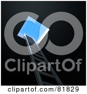 Royalty Free RF Clipart Illustration Of A 3d Ladder Leading Up From The Darkness To A Hole And A Blue Sky