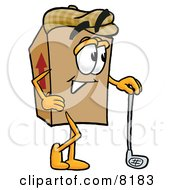 Clipart Picture Of A Cardboard Box Mascot Cartoon Character Leaning On A Golf Club While Golfing