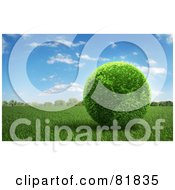 Royalty Free RF Clipart Illustration Of A 3d Botanical Africa Earth On A Field Of Grass by Mopic