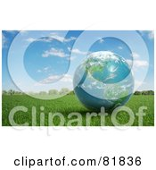 Royalty Free RF Clipart Illustration Of A 3d Earth Globe Resting On Grass Outdoors by Mopic