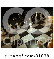 Royalty Free RF Clipart Illustration Of A 3d Angled Scene Of A Chess Game A White Pawn Forward