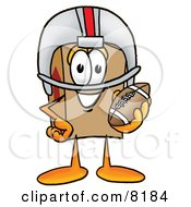 Clipart Picture Of A Cardboard Box Mascot Cartoon Character In A Helmet Holding A Football