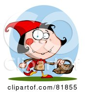 Royalty Free RF Clipart Illustration Of A Little Red Riding Hood Girl Carrying A Basket In Front Of A Blue Oval by Hit Toon
