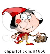 Royalty Free RF Clipart Illustration Of A Little Red Riding Hood Cartoon Girl Carrying A Basket by Hit Toon