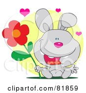 Royalty Free RF Clipart Illustration Of A Sweet Gray Bunny Rabbit Holding A Flower Under Hearts In Front Of A Yellow Circle by Hit Toon