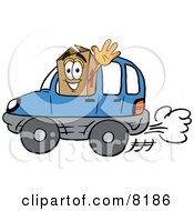 Clipart Picture Of A Cardboard Box Mascot Cartoon Character Driving A Blue Car And Waving