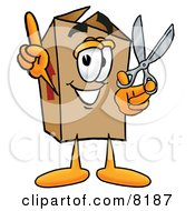 Cardboard Box Mascot Cartoon Character Holding A Pair Of Scissors