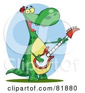 Royalty Free RF Clipart Illustration Of A Guitarist Dinosaur Singing