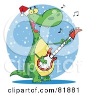 Royalty Free RF Clipart Illustration Of A Singing Dinosaur Wearing A Santa Hat And Playing Christmas Music On A Guitar Over A Blue Snowy Oval