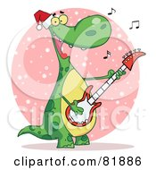 Royalty Free RF Clipart Illustration Of A Singing Dinosaur Wearing A Santa Hat And Playing Christmas Music On A Guitar Over A Pink Snowy Oval