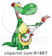 Royalty Free RF Clipart Illustration Of A Singing Guitarist Dinosaur