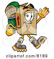 Clipart Picture Of A Cardboard Box Mascot Cartoon Character Hiking And Carrying A Backpack