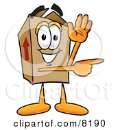 Clipart Picture Of A Cardboard Box Mascot Cartoon Character Waving And Pointing