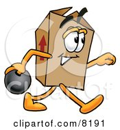Clipart Picture Of A Cardboard Box Mascot Cartoon Character Holding A Bowling Ball