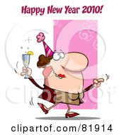 Royalty Free RF Clipart Illustration Of A Happy New Year 2010 Greeting Of A Drunk Dancing Woman Holding Bubbly At A Party