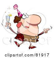 Royalty Free RF Clipart Illustration Of A Drunk Dancing Lady Holding Bubbly At A Party by Hit Toon