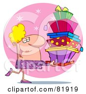 Royalty Free RF Clipart Illustration Of A Female Christmas Shopper Carrying Stacked Gift Boxes