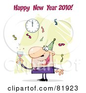 Royalty Free RF Clipart Illustration Of A Happy New Year Greeting Of A Man Toasting At A Party Version 2