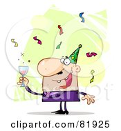 Royalty Free RF Clipart Illustration Of A Man Toasting At A New Years Party Version 2