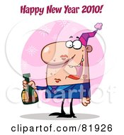Royalty Free RF Clipart Illustration Of A Happy New Year Greeting Of A Man Covered In Lipstick Kisses Drinking At A New Years Party Version 1