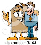 Clipart Picture Of A Cardboard Box Mascot Cartoon Character Talking To A Business Man