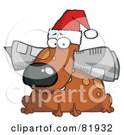 Royalty Free RF Clipart Illustration Of A Christmas Dog Wearing A Santa Hat And Chewing On A Newspaper