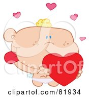 Royalty Free RF Clipart Illustration Of A St Valentines Day Cupid Holding A Heart Version 1 by Hit Toon