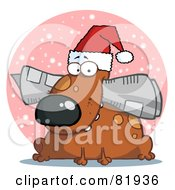 Royalty Free RF Clipart Illustration Of A Dog Wearing A Santa Hat And Chewing On A Newspaper In Front Of A Pink Snowy Circle