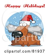 Royalty Free RF Clipart Illustration Of A Happy Holidays Greeting Of A Christmas Dog Chewing On A Newspaper
