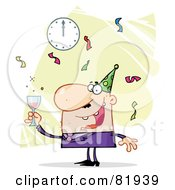 Royalty Free RF Clipart Illustration Of A Man Toasting At A New Years Party Version 3 by Hit Toon