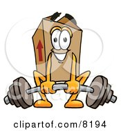 Clipart Picture Of A Cardboard Box Mascot Cartoon Character Lifting A Heavy Barbell