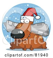 Royalty Free RF Clipart Illustration Of A Dog Wearing A Santa Hat And Chewing On A Newspaper In Front Of A Blue Snowy Circle