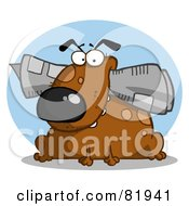 Royalty Free RF Clipart Illustration Of A Brown Dog Munching On A Newspaper In Front Of A Blue Circle by Hit Toon