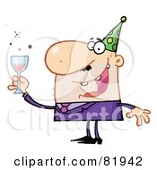 Royalty Free RF Clipart Illustration Of A Man Toasting At A New Years Party Version 1