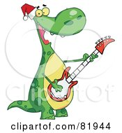 Royalty Free RF Clipart Illustration Of A Dinosaur Wearing A Santa Hat And Playing Christmas Music On A Guitar