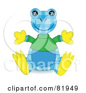 Blue And Yellow Patchwork Frog Wearing A Green Shirt