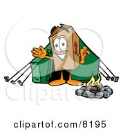 Cardboard Box Mascot Cartoon Character Camping With A Tent And Fire