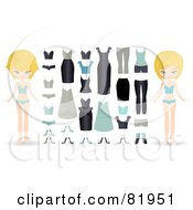 Digital Collage Of A Blond Paper Doll In Different Underwear With A Wardrobe