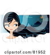 Royalty Free RF Clipart Illustration Of A Black Haired Bollywood Girl Wearing A Bindi Glancing Right by Melisende Vector