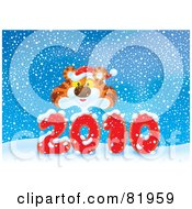 Royalty Free RF Clipart Illustration Of A Tiger Wearing A Santa Hat And Looking Over A Red 2010 In The Snow by Alex Bannykh