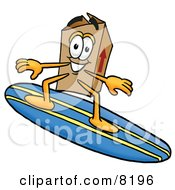 Clipart Picture Of A Cardboard Box Mascot Cartoon Character Surfing On A Blue And Yellow Surfboard by Toons4Biz