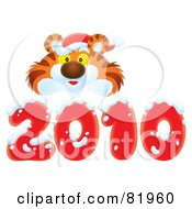 Royalty Free RF Clipart Illustration Of A Cute Tiger Wearing A Santa Hat And Peaking Over A Red 2010 Covered In Snow by Alex Bannykh